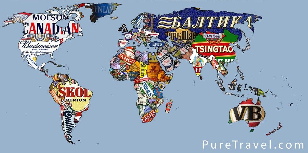 Une superbe carte du monde aux couleurs des brasseurs du monde entier !