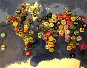 carte du monde bouchons de bières