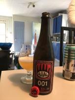 07 - Microbrasserie Auval - 001 - Un top 10 de fin d'année sans une bière d'Auval... impossible. Toujours aussi difficile à se procurer, mais toujours une valeur sure. Les bières créées par Benoît, à Val D'Espoir sont toujours remarquables. Cette fois, c'est leur toute première bière brassée sur leur nouveau système de brassage (d'où le nom 001) qui a attirée mon attention. Sur papier je craignais avoir bu cette bière un peu trop tard après sa mise en bouteille. Mais une fois versée, ce fût une grande surprise. Je m'attendais à une simple pale ale. Mais je dois avouer que le court passage de cette pale ale, en barrique, a fait toute la différence. Ressemblant un peu plus à une saison qu'à une pale ale, la complexité de cette bière m'a bien plue. Légèrement vineuse avec un côté houblonné très intéressant, elle mériterait bien de devenir un produit régulier dans le porte folio d'Auval.